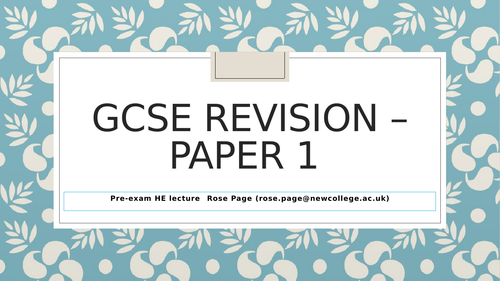 REVISION - GCSE English 9-1 EDEXCEL Paper 1 advice and guidance before the exam