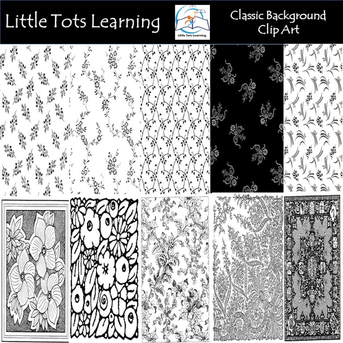 Black and White Damask Digital Papers - Commercial Use