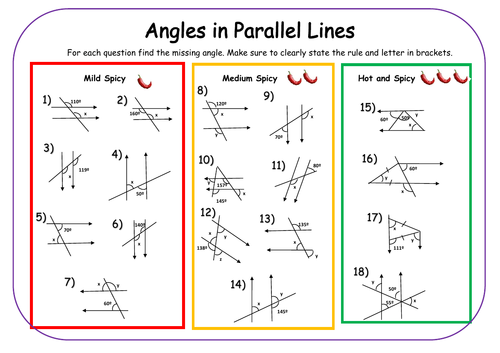 Angles in Parallel Lines Differentiated Worksheet