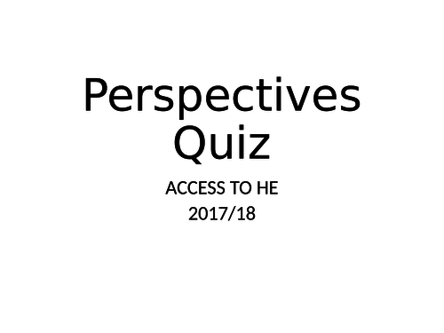 Psychological Perspectives Revision Quiz