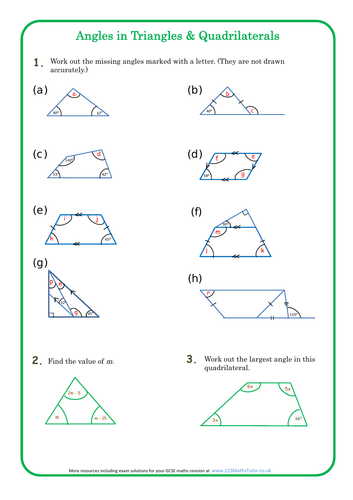 Angles in Triangles and Quadrilaterals homework sheet + solutions