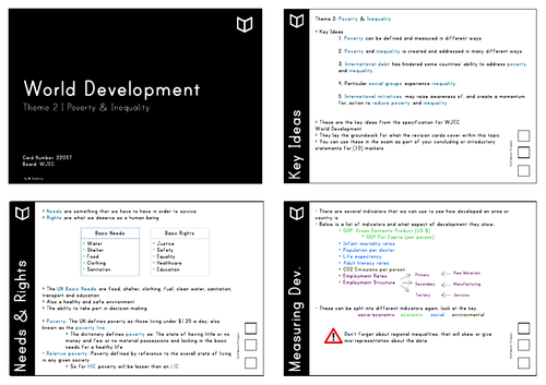 AS World Development I Theme 2 Revision Cards