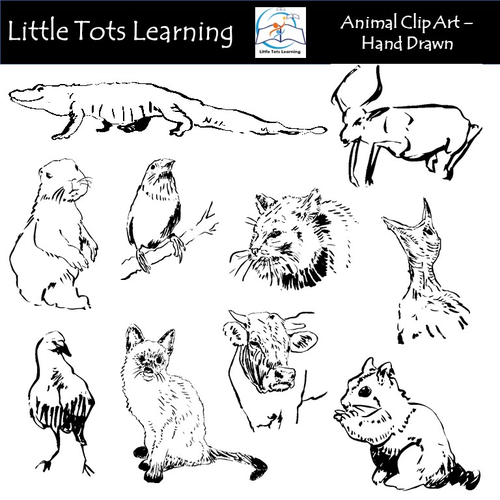 Animal Clip Art - Hand Drawn - Black and White - Commercial Use