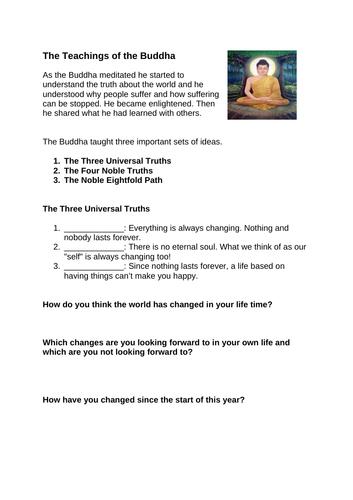 Worksheet - Teachings of the Buddha for KS3