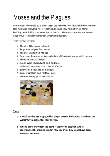 Moses and the Plagues worksheet