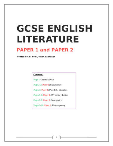 GCSE English Literature Guide  - Papers 1 & 2