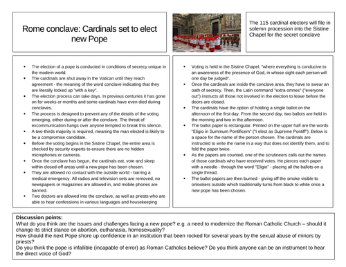 Election of the new Pope - Discursive worksheet by