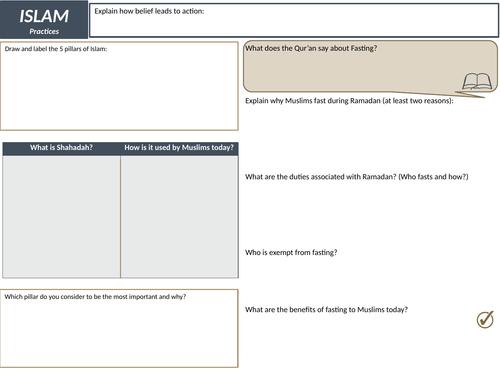 AQA GCSE RS Spec A (1-9) Muslim Practices Revision Sheets