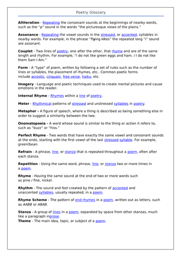 Poetry Glossary