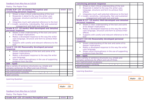 IGCSE CAMBRIDGE Marking template