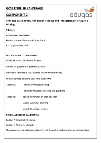 Eduqas GCSE English Language - Component 2 - Practice Examination Paper (Reading and Wri