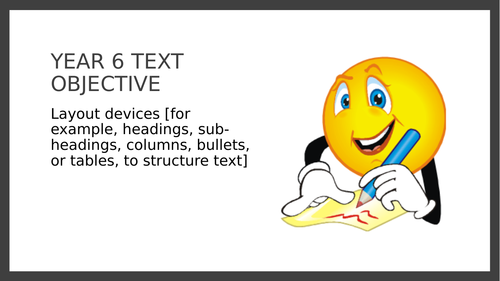 Year 6 SPAG PPT and Assessment: Layout Devices