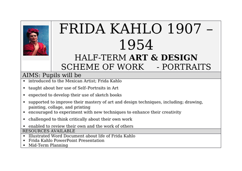 FRIDA KAHLO - Mid-Term Planning And RESOURCES