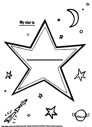 My star is... 3 graded versions of a Star Picture-Poem Frame Early Yrs, Yr 1, Yr 2.