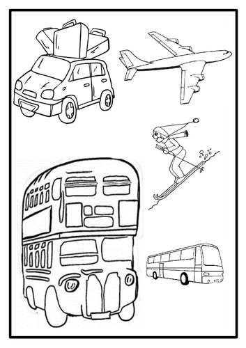 Holiday & Transport Pictures - Colouring in sheets