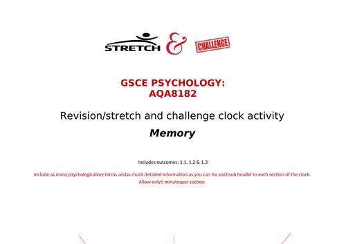 Memory revision clock AQA GCSE psychology cognition and behaviour 8182