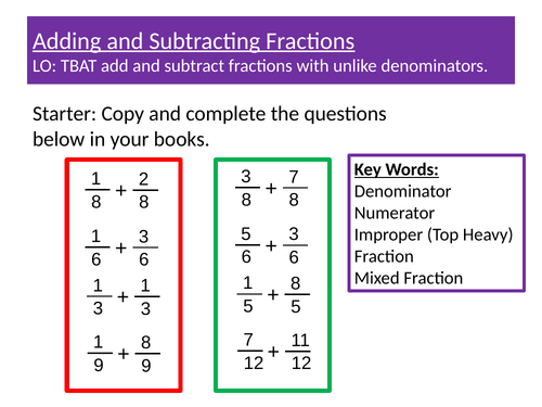 Adding and Subtracting Fractions Observed Lesson