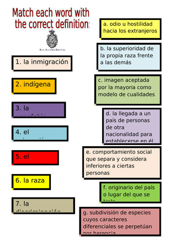 SPANISH A LEVEL IMMIGRATION ACTIVITIES