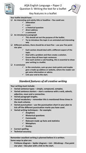 gcse revision aqa english language paper   different types of  gcse revision aqa english language paper   different types of writing  checklists and questions by toonarmytt  teaching resources  tes