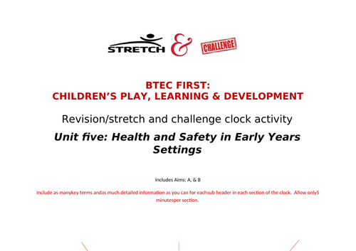Unit five revision clock activity: Health & Safety in Early Years Settings: Btec First CPLD
