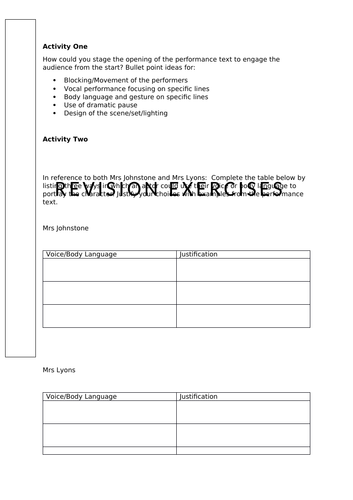 AQA GCSE Drama Blood Brothers revision activities and Live Theatre Review