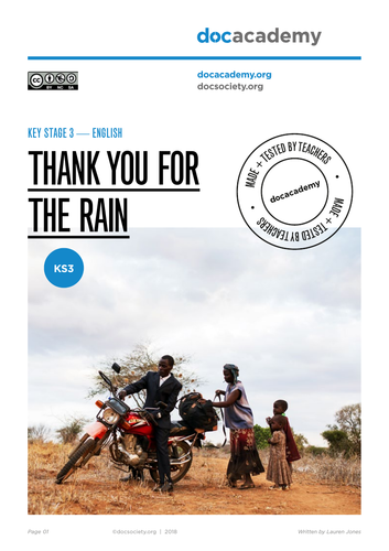 Thank You For the Rain KS3 English Language - climate change and critical thinking