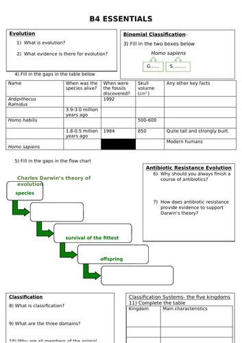 Edexcel biology B4 natural selection revision