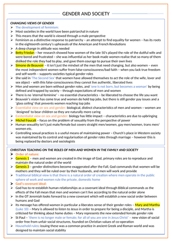 Gender and Society - OCR A Level Religious Studies