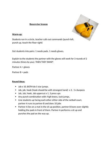 Boxercise lesson plan