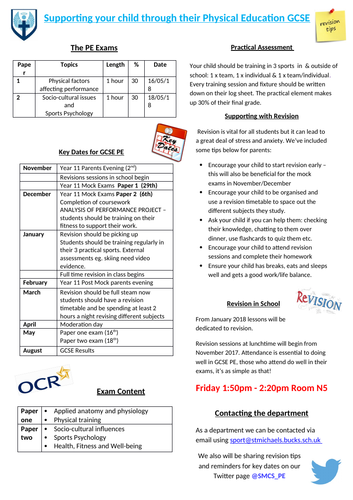 OCR GCSE PE - supporting your child document