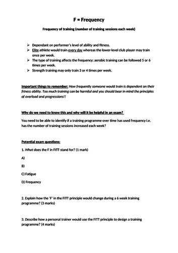FITT principle of training work sheet