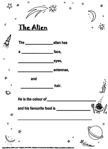 Alien Poem Frame, illustrated, Yrs 2-4; Guidance Notes