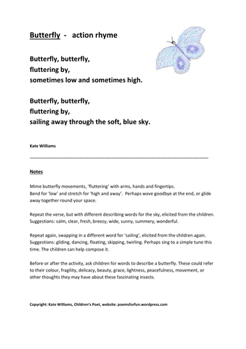 3 Creepy-Crawly Rhymes, with guidance, Butterfly, Ladybird, Spider, EY/KS1