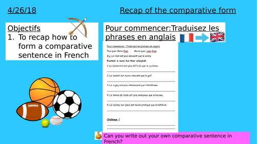 KS 3- YEAR 7- YEAR 8- Recap of the comparative form with sports