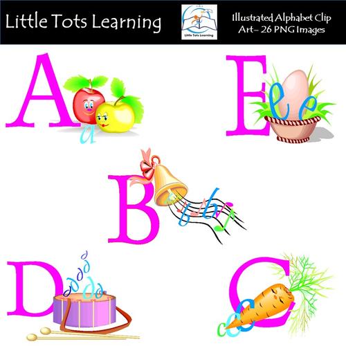 Alphabet Clip Art - Illustrated Alphabet Clip Art - Pack 1