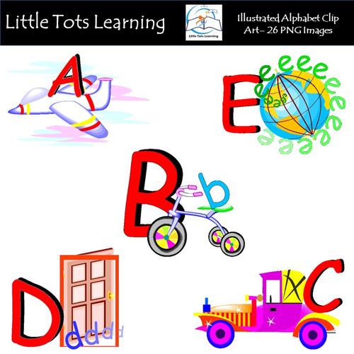Alphabet Clip Art - Illustrated Alphabet Clip Art - Pack 2