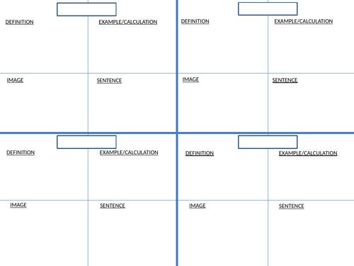 Keywords Flash cards template