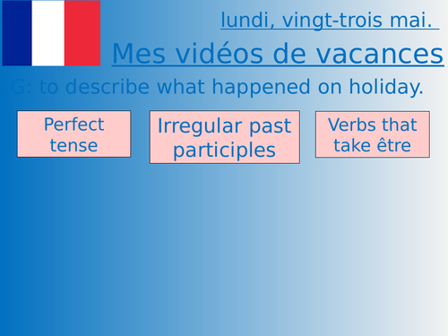 Middle school French resources: past and future vacations