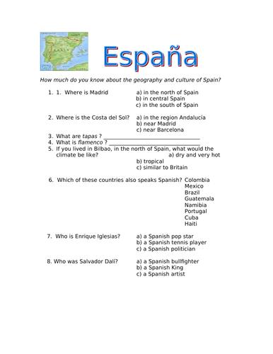 KS3 Spanish Cultural Starter Quiz - useful general knowledge