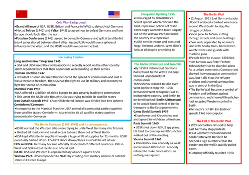 Edexcel GCSE 9-1 Cold War Revision in 2 pages