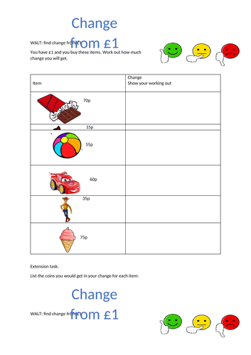 Differentiated worksheets Change from £1