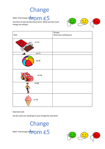Differentiated worksheets Change from £5