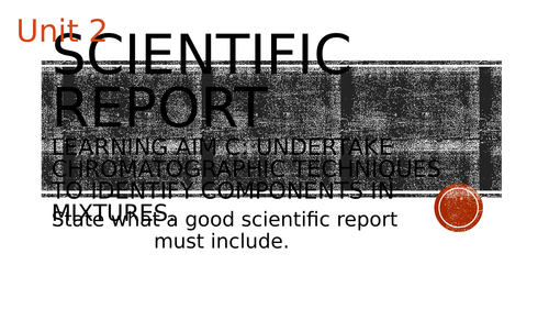 Pearson BTEC-Applied science-UNIT 2C-How to write a scientific report