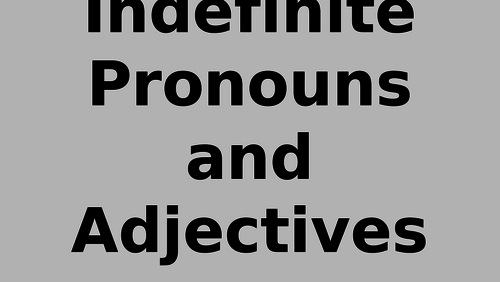 SPANISH A LEVEL INDEFINITE PRONOUNS AND ARTICLES PPT