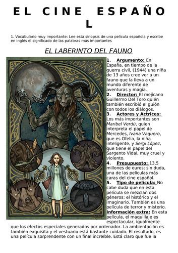 SPANISH A LEVEL CINEMA INTRO with LABERINTO DEL FAUNO sheet