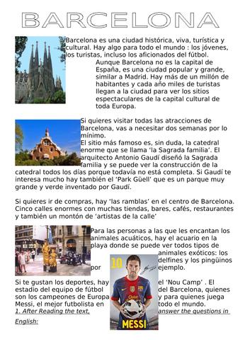 SPANISH KS3 BARCELONA reading sheets