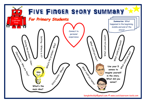 5 Finger Story Summarising Sheet