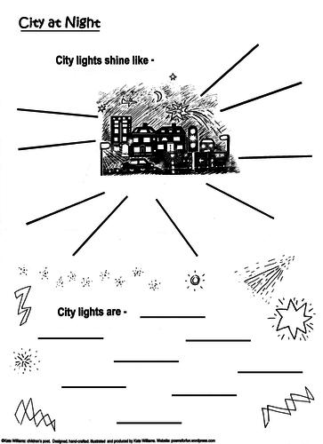 KS2 CITY LIGHTS Poetry-Writing Frame + Warm-Up Sheet