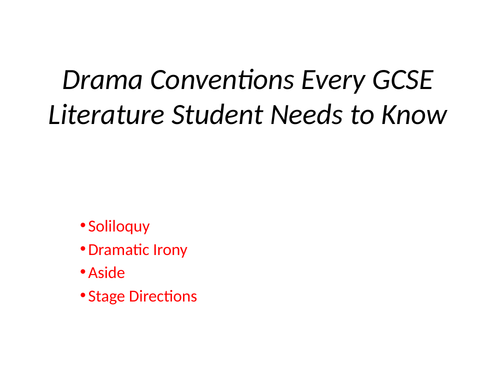 GCSE Drama Conventions - An Inspector Calls and Macbeth