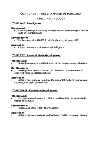child psychology research topics